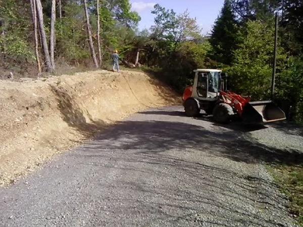 Baufeldräumung für einen Wendehammer im Wald